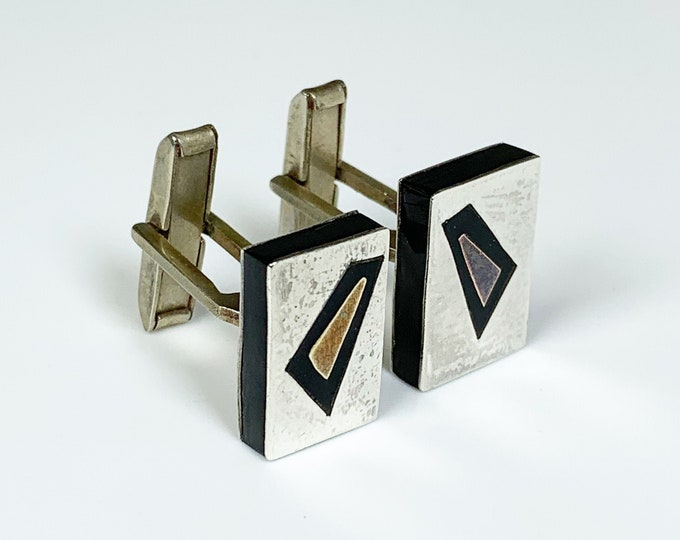 Vintage Silver Mexican Inlay Cufflinks | Modernist Mixed Metal Cuff Links