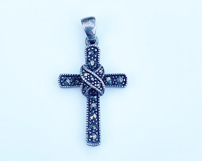 Vintage Silver Marcasite Cross