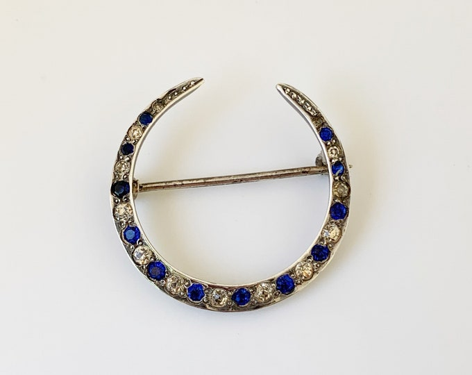 Vintage Sterling Crescent Moon Brooch | Blue and Clear Rhinestone | Silver Moon Brooch