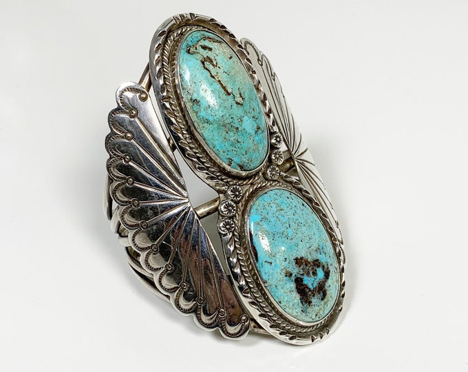 Vintage Silver Two Stone Turquoise Cuff | Large Southwest Silver Cuff Bracelet