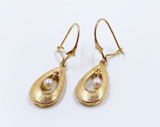 Vintage Gold Tear Drop and Pearl Dangle Earrings   Classic Pearl Earrings   14K Pearl Earrings