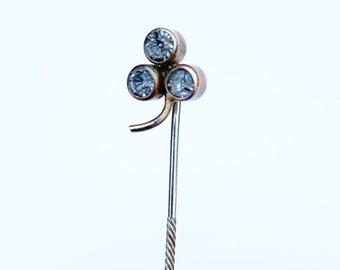 Victorian Clover Rhinestone Stick Pin