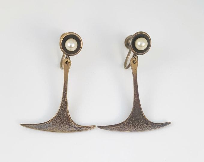 Vintage Copper Modernist Earrings | Hogan-Bolas Screw Back Earrings