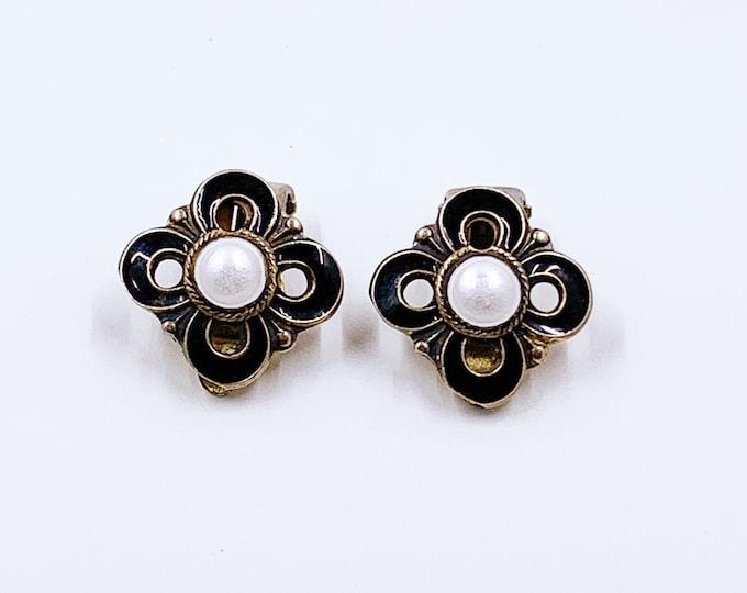 Vintage Sterling David Anderson Black Enamel Earrings | Vintage MCM Enamel Clip On Earrings