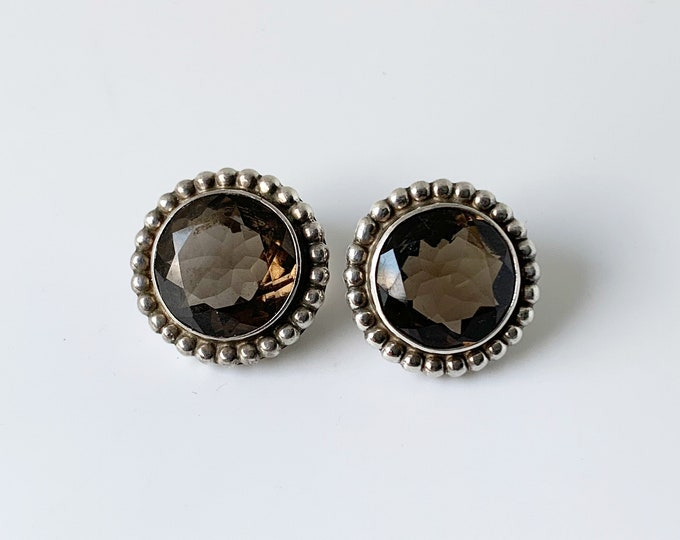 Vintage Silver Smokey Quartz Earrings | Smokey Quartz Studs