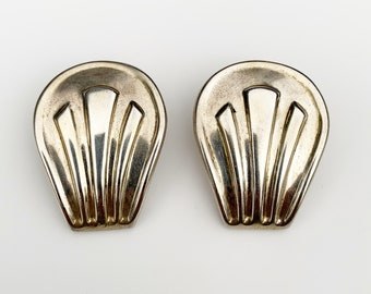 Vintage Mexican Silver Modernist Earrings   Modernist Repousse Earrings   Large Earrings