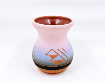 Vintage Small Sun Rose Sioux Etched Vase | Sioux Pottery | Native American Pottery
