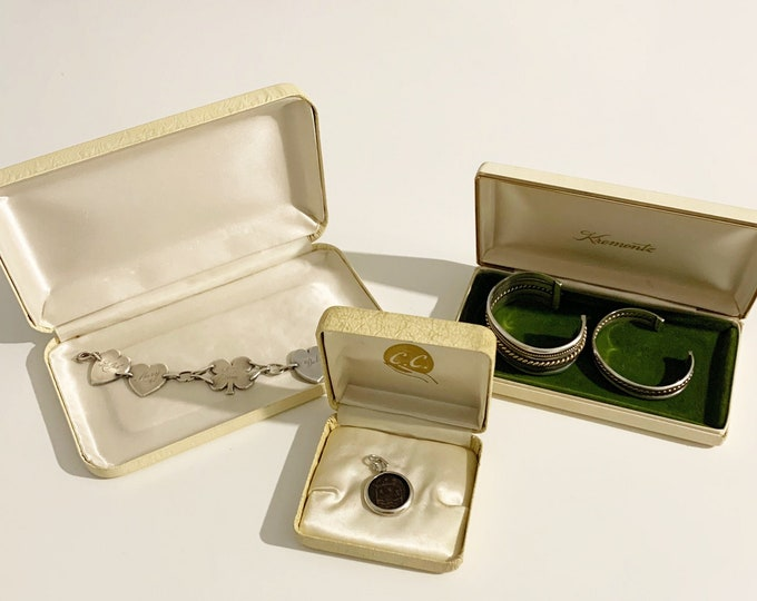 Vintage Jewelry Box Lot | Krementz Box and C.C. | Three Jewelry Display Boxes