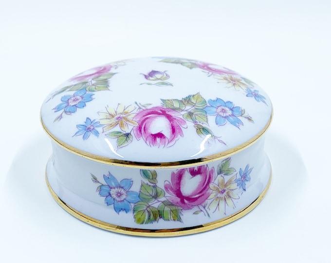 Vintage Limoges Floral Trinket Box | Applied Flower Decals | Limoges France Porcelain