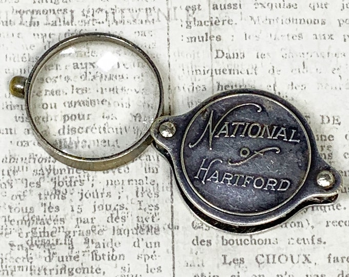 Vintage Advertisement Magnifying Glass | National of Hartford Travel Loupe