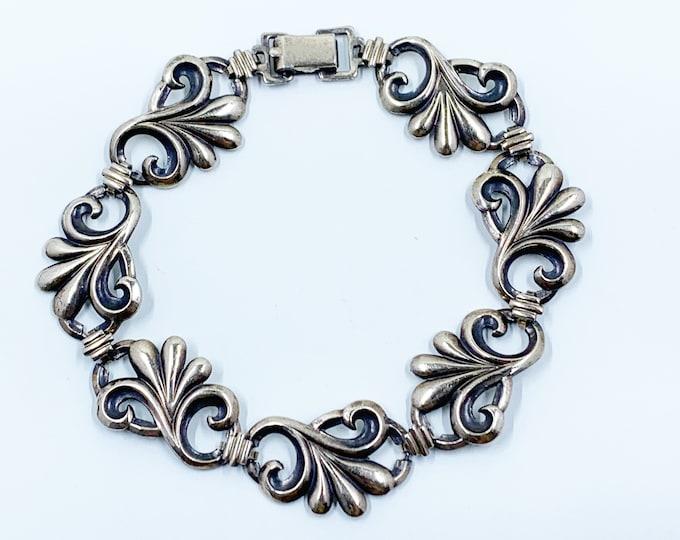 Vintage Scrolled Panel Bracelet | W.E. Richards Symmetalic Repousse Panel Bracelet | Gold Overlay and Sterling Silver