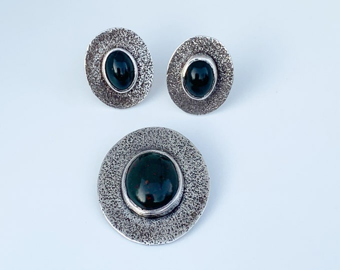 Vintage Modernist Bloodstone Pendant and Earring Set | Silver Modernist Jewelry Set