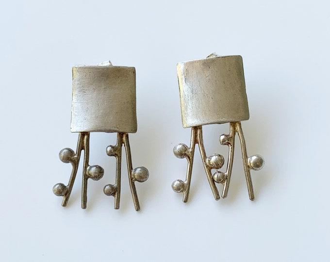 Silver Organic Modernist Earrings    Handmade Silver Abstract Earrings