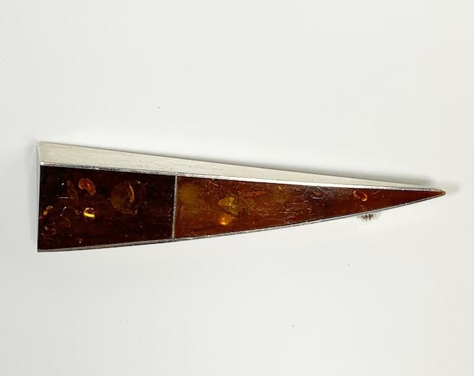 Vintage Silver Amber Modernist Brooch