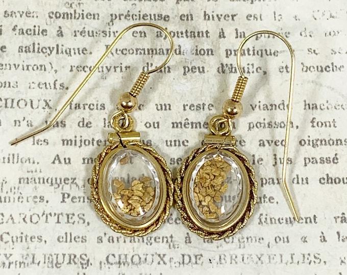 Vintage Gold Nugget Flake Earrings   Shaker Locket Gold Nugget Earrings   Gold Prospecting