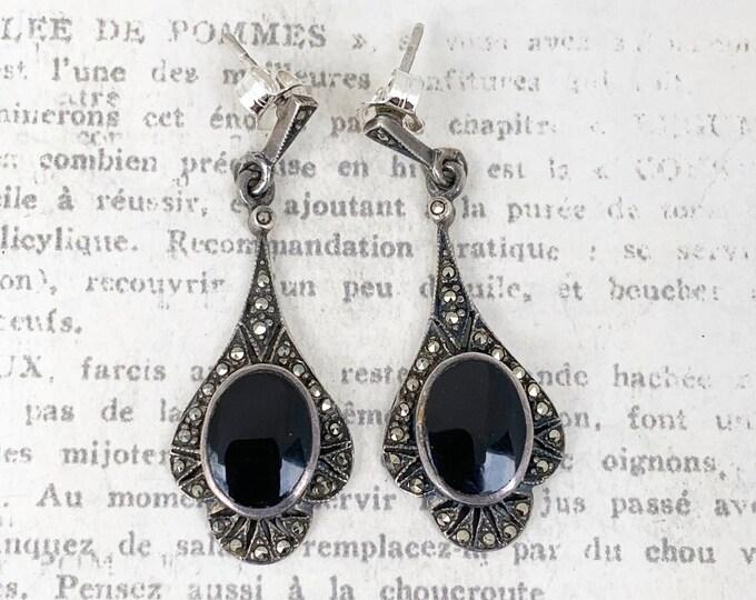 Vintage Onyx and Marcasite Drop Earrings | Art Deco Style Onyx Earrings