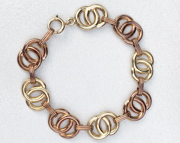 Antique Art Deco 10k Gold Circle Link Bracelet | 10K Gold Two Tone Bracelet