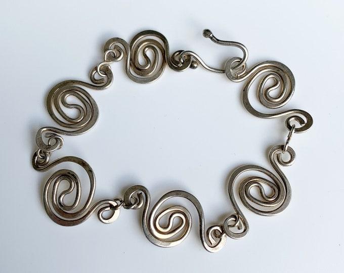 Vintage Silver Spiral Link Bracelet