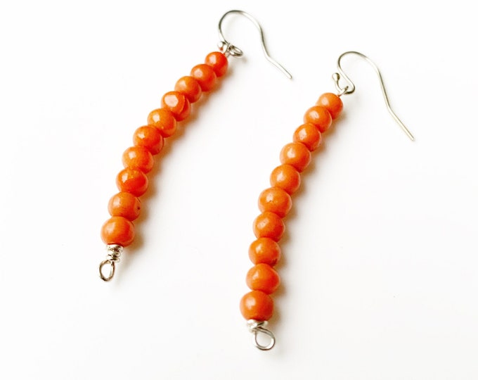 Vintage Silver Coral Bead Earrings | Handmade Silver Coral Earrings