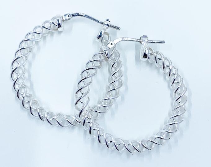 Vintage Silver Spiral Hoop Earrings