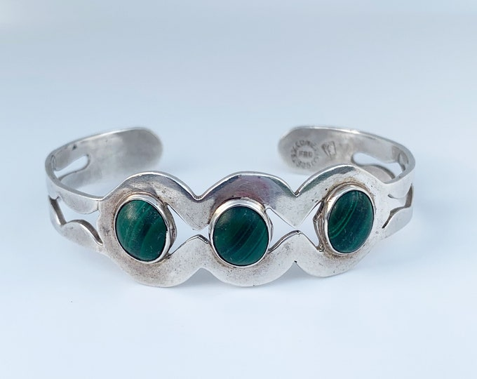 Vintage Mexican Silver Malachite Cuff Bracelet