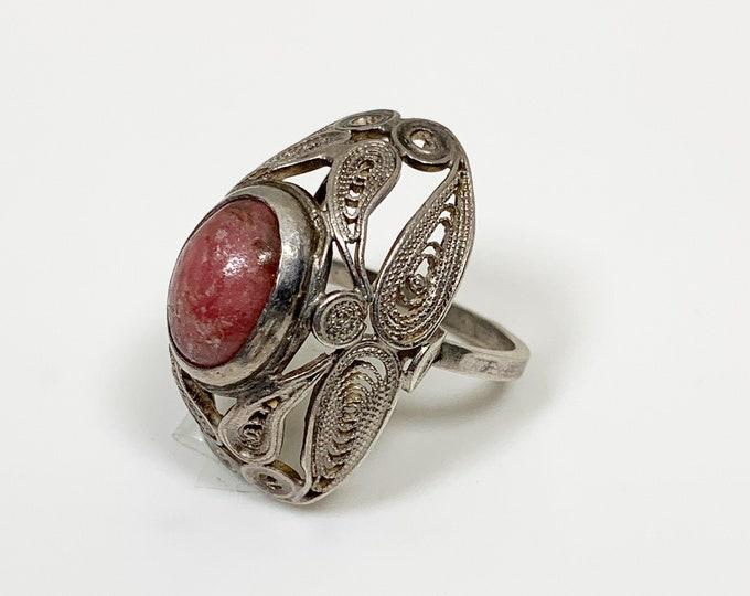 Vintage Silver Filigree Ring | Rhodonite Ring | Pink Stone Ring | Size 7