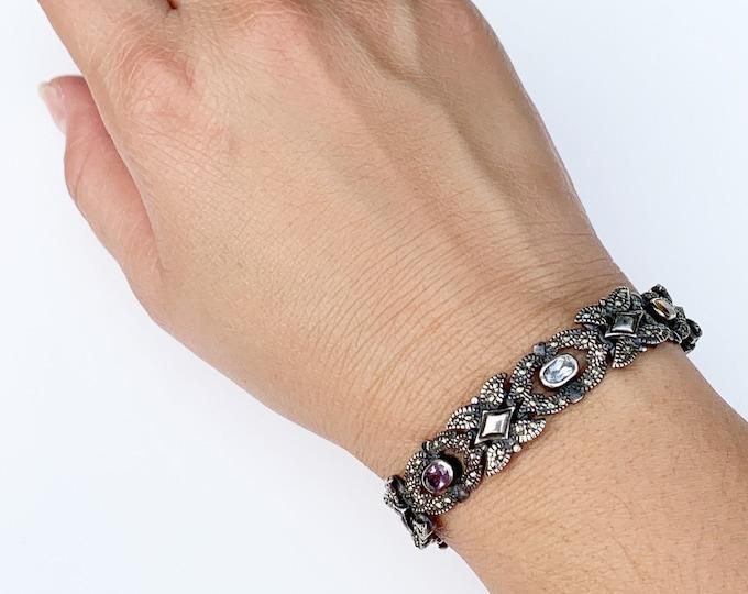 Vintage Silver Multi-Stone Bracelet