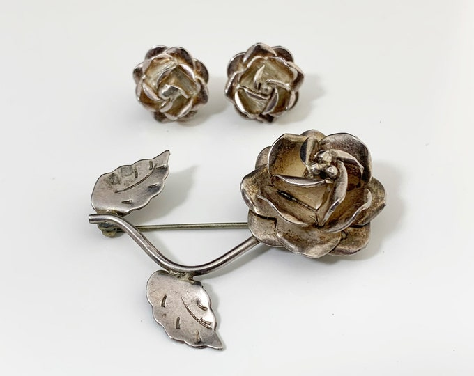 Vintage Mexican Silver Rose Earrings and Brooch | Modernist Silver Rose Jewelry Set