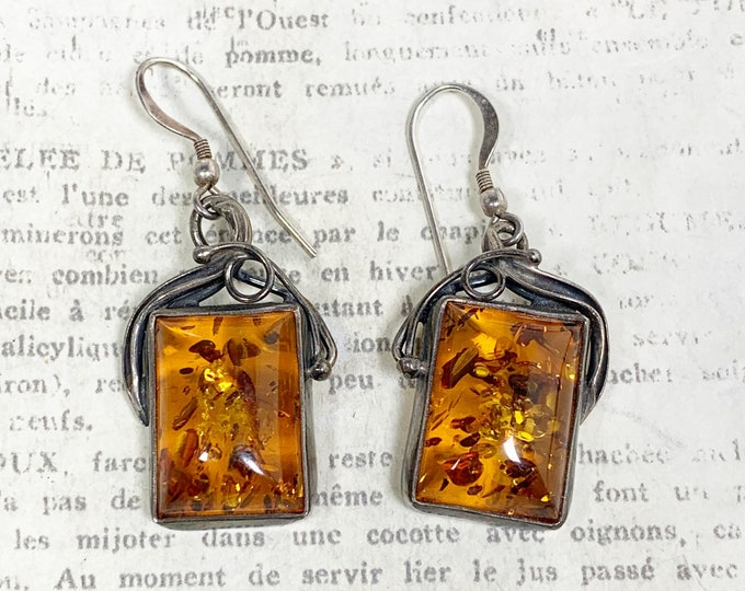 Vintage Silver Amber Earrings | Arts and Crafts Amber Earrings