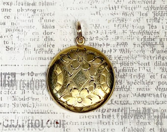 Vintage Engraved Flower Locket   Gold Filled Locket