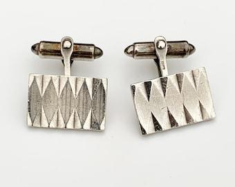Vintage Geometric Silver Cufflinks   HG & S   Birmingham Cufflinks