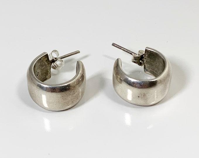 Vintage Small Half Hoop Earrings | Silver Open Hoop Studs