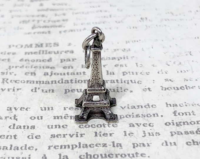 Vintage Silver Eiffel Tower Charm | Paris Charm |  1889 World's Fair Landmark