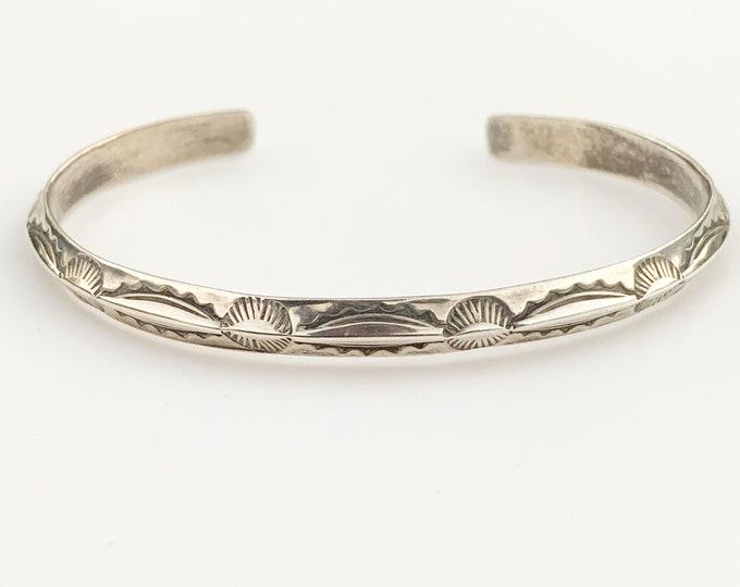 Vintage Silver Hand Stamped Cuff | Southwest Silver Cuff Bracelet