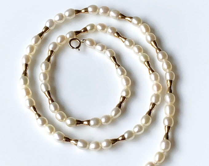 Cultured Pearl and Gold Bead Necklace
