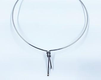 Vintage Love Knot Collar Necklace | Silver Love Knot Choker Necklace