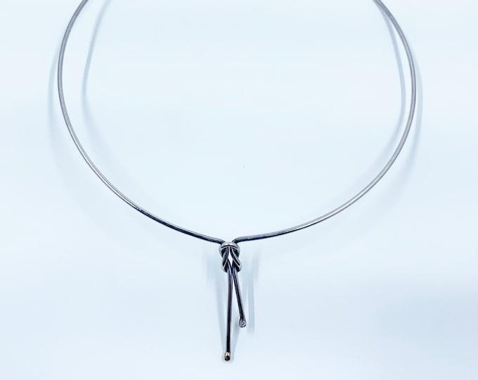 Vintage Love Knot Collar Necklace   Silver Love Knot Choker Necklace