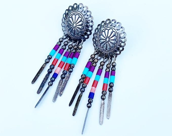 Silver Concho Beaded Tassel Earrings | Multi-Stone | Southwest Dangle Earrings