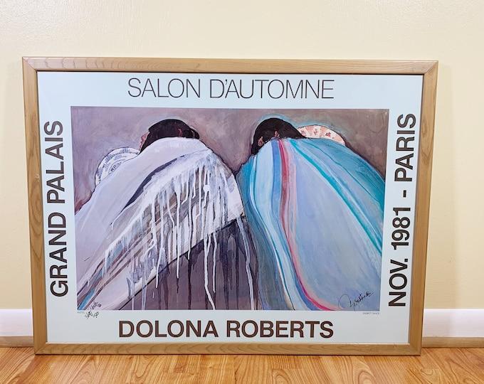 Vintage Original Dolona Roberts Paris Exhibition Poster | Grand Palais Paris | Native American Art | Signed Framed Poster