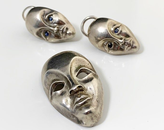Vintage Silver Modernist Face Earrings and Brooch | Modernist Face Mask Jewelry