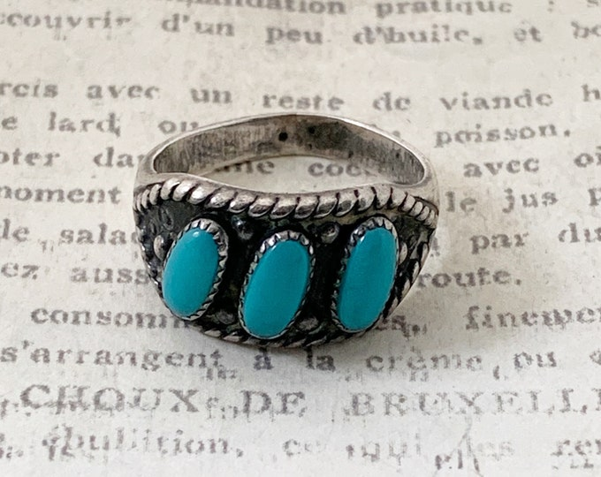 Vintage Turquoise Three Stone Ring | Bell Trading Post Ring | Size 6