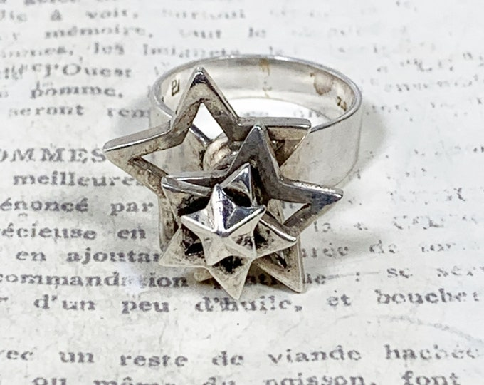 Vintage Silver Star Spinning Ring | Kinetic Star Ring