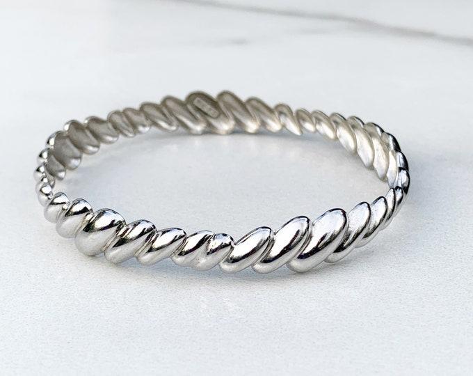 Vintage Silver Scalloped Bangle Bracelet | Beau Sterling Shrimp Bangle