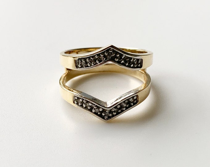 Vintage Gold Chevron Ring Enhancer | Estate Gold and Diamond Ring Jacket | US Size 8 Ring
