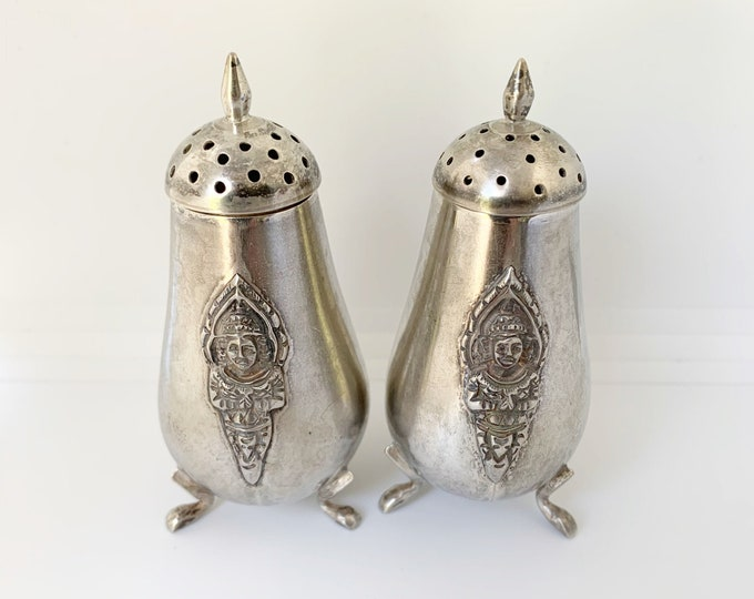 Vintage Sterling Silver Salt and Pepper Shakers | Siam Thailand KUI KEE Sterling