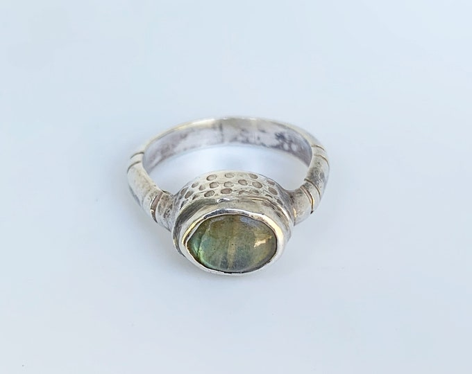 Silver Labradorite Ring | Oval Labradorite Ring | Textured Ring | Size 6 3/4 Ring