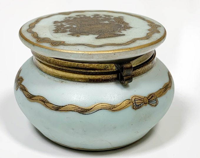 Vintage Porcelain Trinket Jar |  Hinged Porcelain Jar | Urn and Ribbon Decor