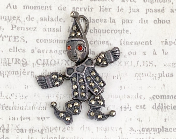 Vintage Silver Articulated Clown Pendant   Silver Dancing Clown Charm