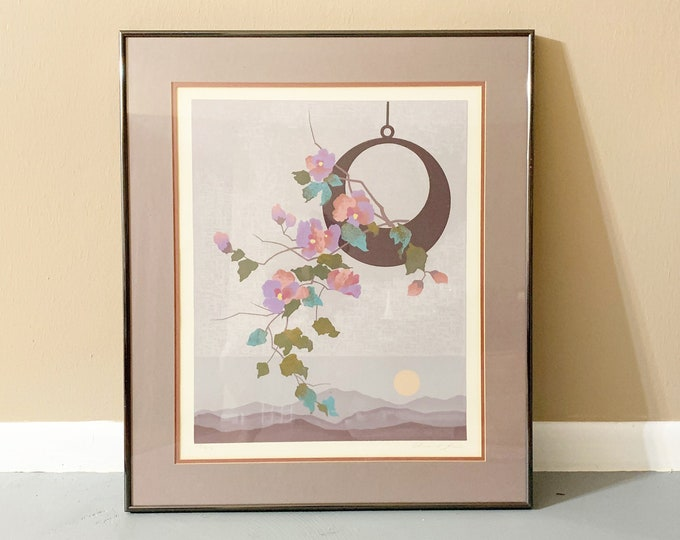 Vintage Flower Print | Edward Lee Serigraph Print | Framed Art