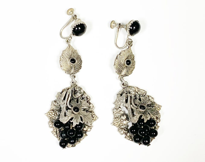 Vintage Silver Onyx Screw Back Earrings | Onyx Grape Fruit and Leaf Dangle Earrings